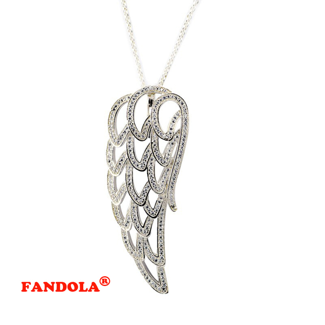 Angel Wing Pendant Necklace with Clear Cubic Zirconia Original 925 Sterling Silver Jewelry Free Shipping