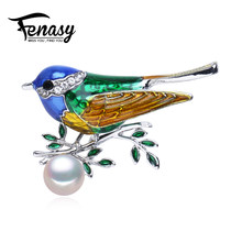 FENASY 2018 new Autumn Noble bird Elegant Pearl Brooch Pins,Three Colors Zircon Brooch Set Natural Pearl Vintage Brooch Jewelry(China)