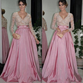 Long Sleeve Evening Dress 2017 Mother Of The Bride Dresses Sexy V-Neck Bow Sashes A-Line Pink Satin Formal Dresses Party Dress