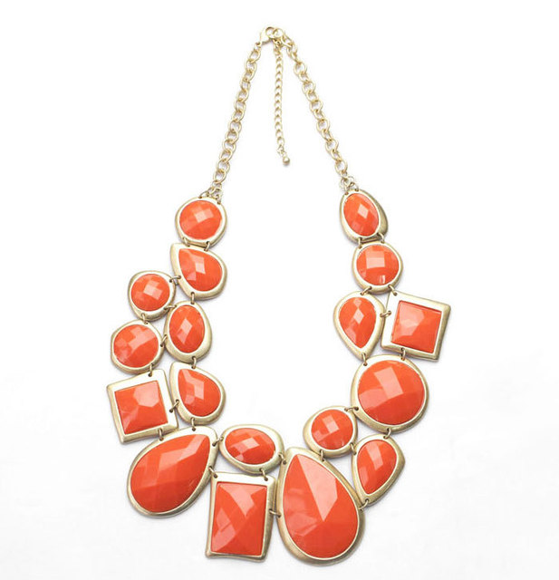 Charming Silver Chain Brand Designer Necklace Women Statement Necklace Geometric Resin Bib Necklaces & Pendants Collares
