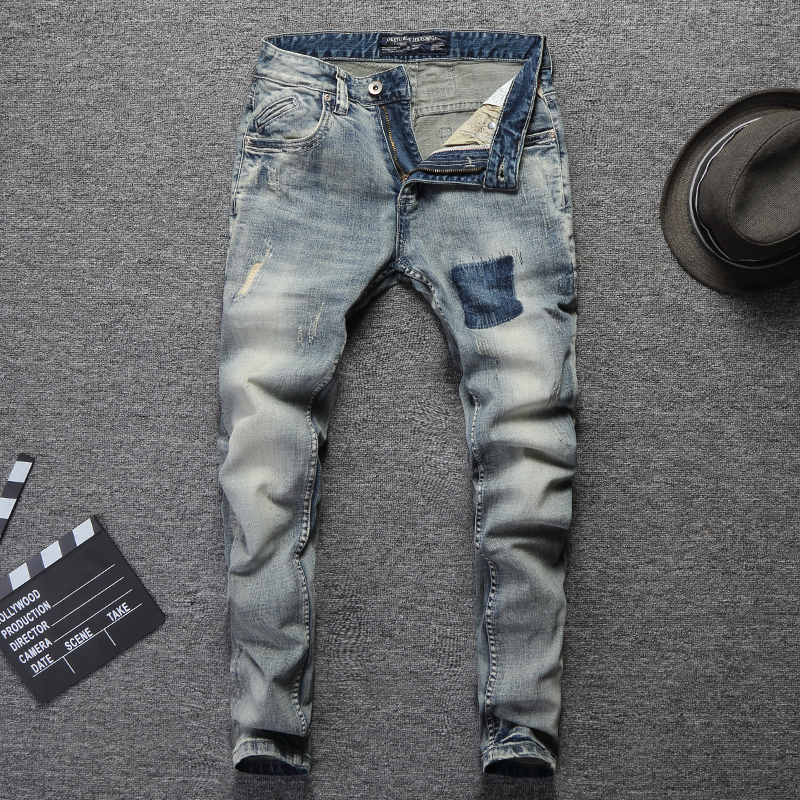 Vintage Design Fashion Men Jeans Stretch Slim Fit Elastic Cotton Denim Pants High Quality Classical Jeans For Men Ripped Jeans