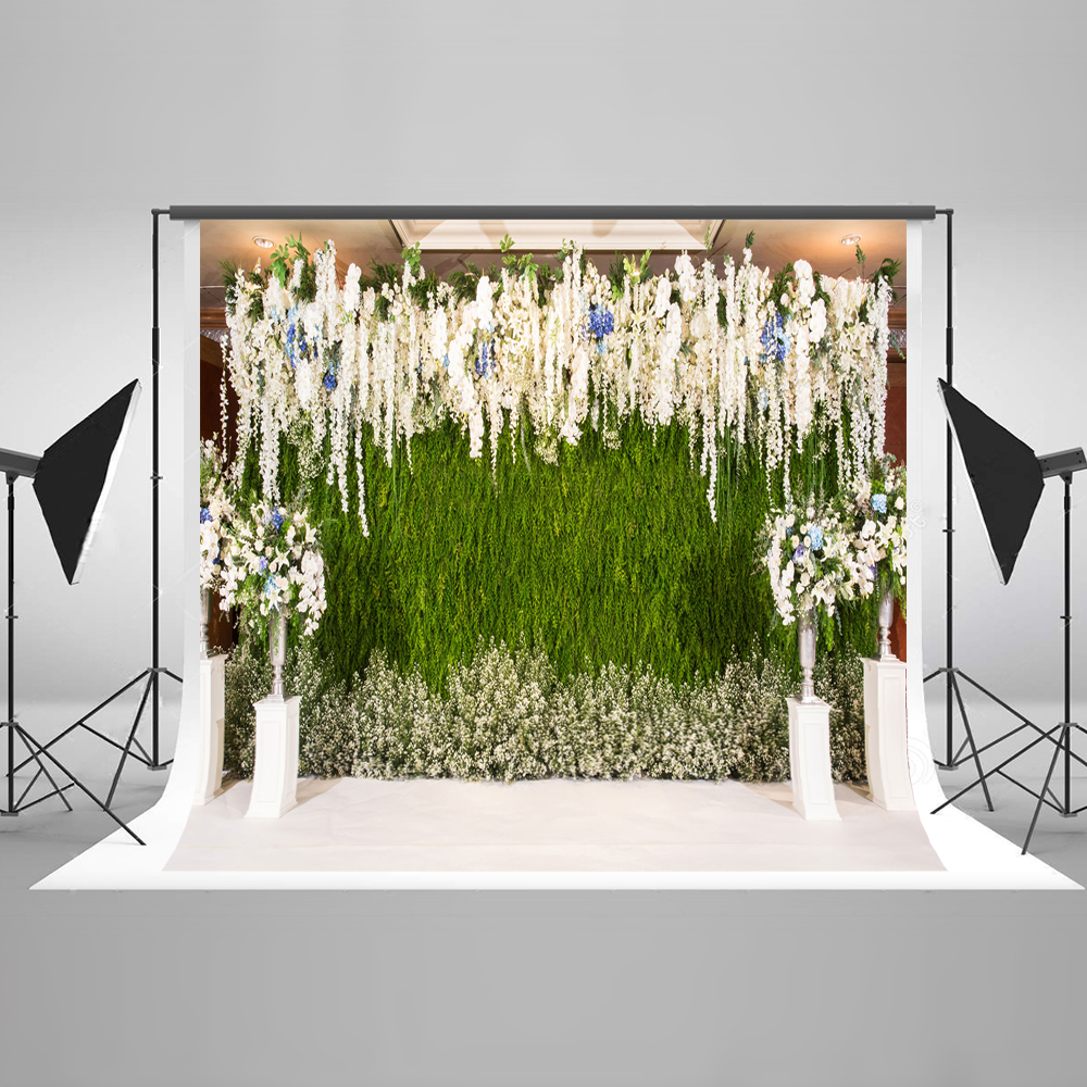 Kate Wedding Stage Photo Background Flower Wall Backgrounds For Photo Studio Wedding Decoration Photography Backdrops wedding photo backdrops white flowers hanging lights computer printing background gray wall murals backgrounds for photo studio