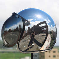 Зеркальный мотоциклетный шлем, винтажный, серебристая, хромированная