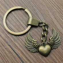 Keyring Heart With Wing Keychain 36x27mm Antique Bronze Heart With Wing Key Chain Party Souvenir Gifts For Women stunning heart wing cuff ring for women