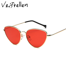 VeBrellen 2017 New Sunglasses Cat Eye Designer Metal Women Coating Sun Glasses Men Retro Eyeglasses UV400 VJ154