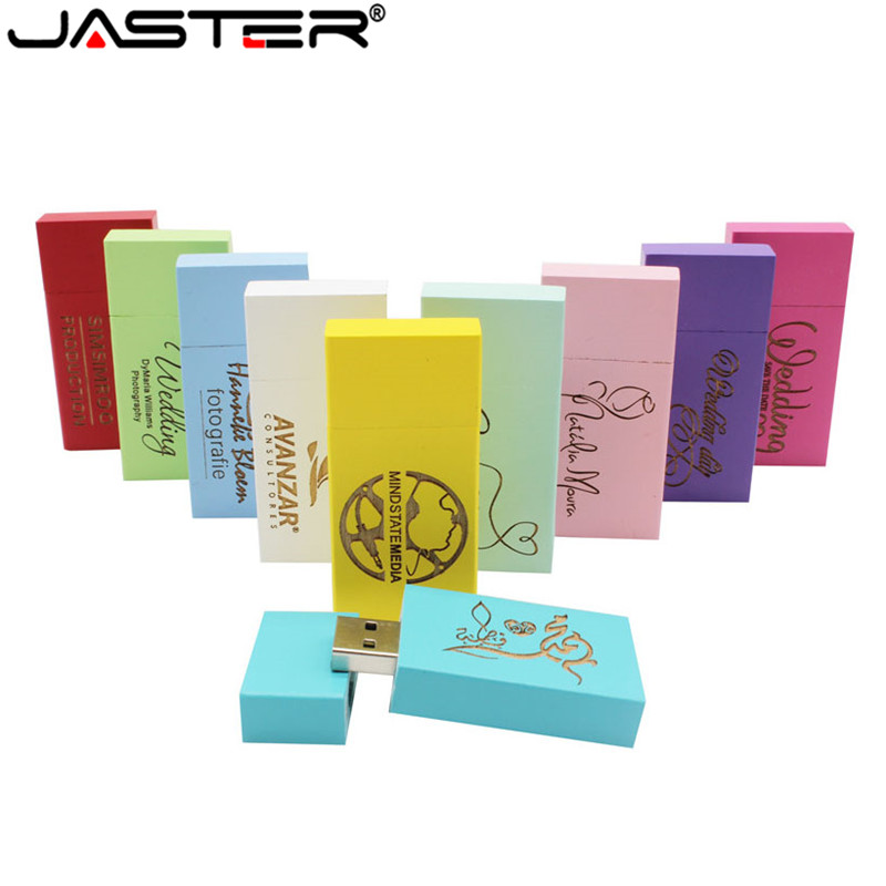 JASTER LOGO Personality Wooden Colorful Block USB Flash Drive Creative Gift U Disk Pendrive 4G 16GB 32GB 64GB Wood Memory Stick