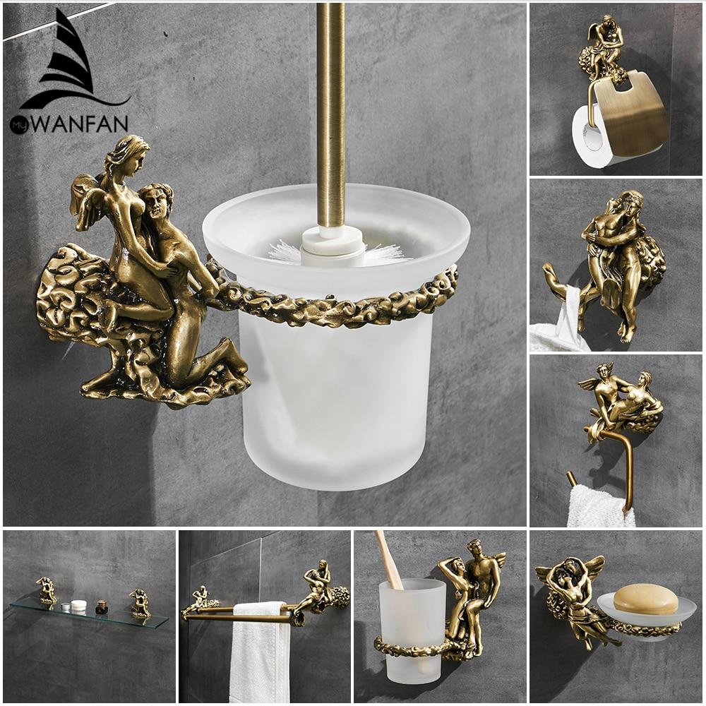 Romantic Series Bronze Bathroom Toilet Paper Holder Wall Mounted Towel Bar Toilet Brush Holder Bathroom Accessories MB-0810B