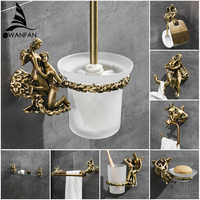 Série romântica bronze banheiro suporte de papel higiênico fixado na parede barra toalha toalete escova titular acessórios do banheiro MB-0810B