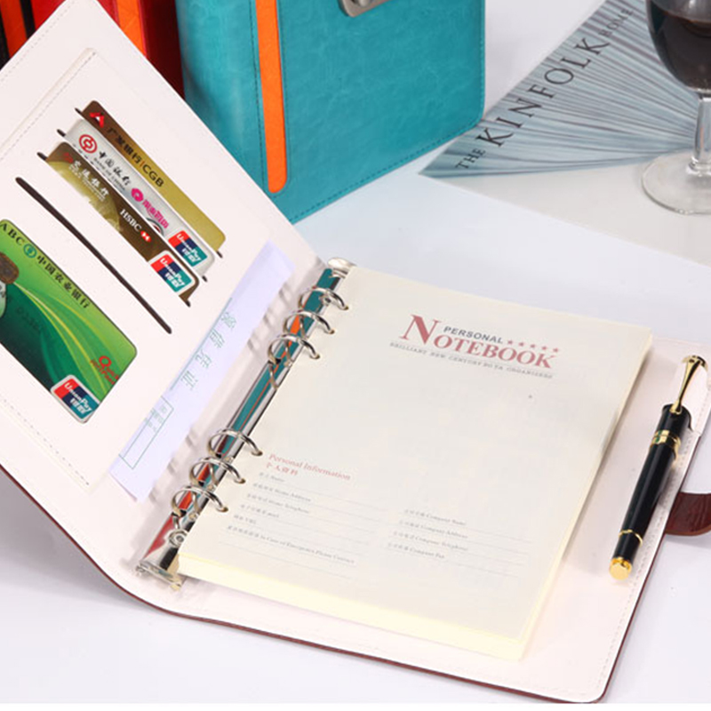 Nieuw lederen Sprial Notebook Dagboek met slotcode BussinessNotepad - Notitieblokken en schrijfblokken bedrukken - Foto 6