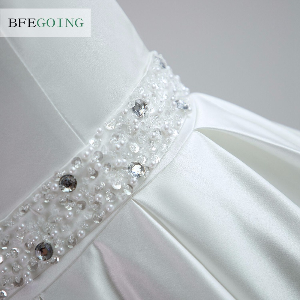 A-line Satin Boat Neck Wedding dress Floor-Length Chapel Train Sleeveless Beading Belt Real/Original Photos Custom made 8