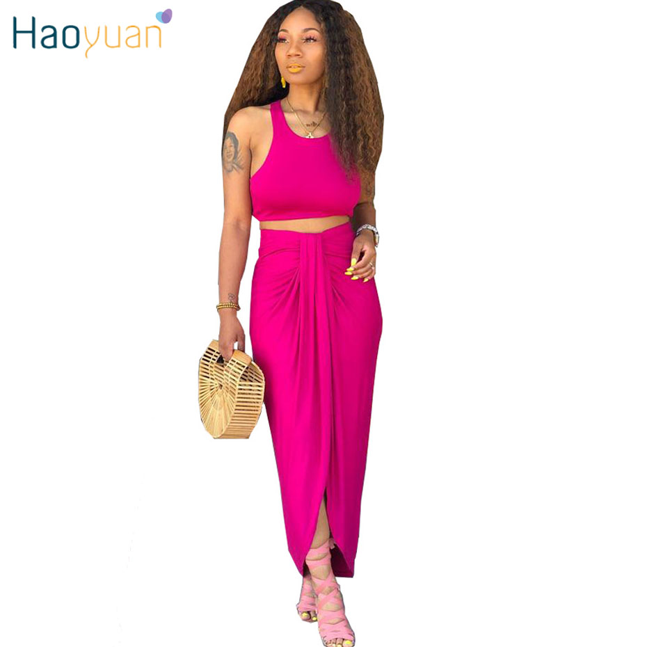 HAOYUAN Sexy Two Piece Skirt Set Club Outfits Crop Top And Draped Maxi Skirt Matching Sets Summer Clothes 2 Piece Set Women