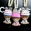 The New Diamond Pendant High-grade Car Kiki Rabbit Ears Lady Diamond Crystal Car Rearview Mirror Hanging Ornament