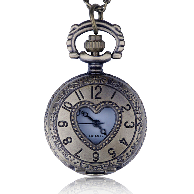 Fashion Women Ladies Jewelry Small Size Heart Pocket Watch Necklace Pendant For