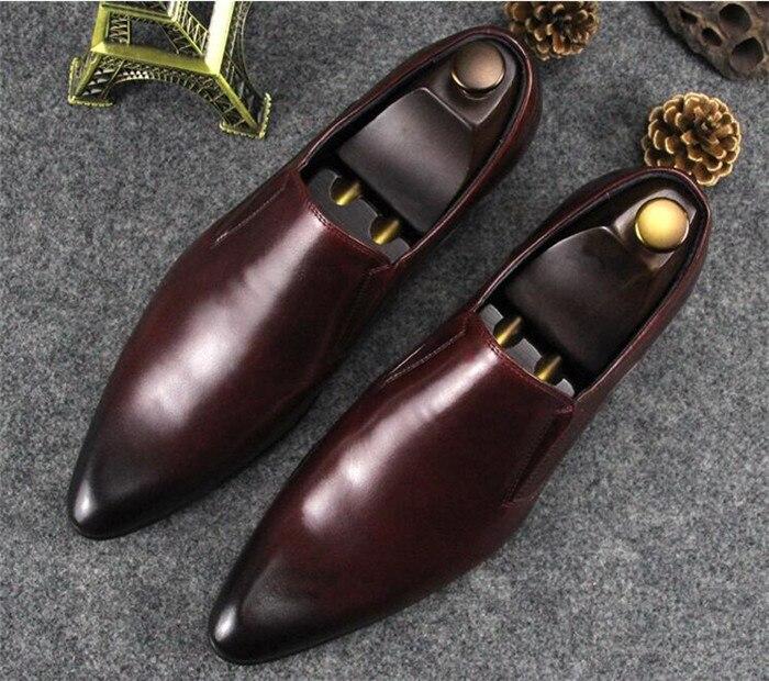 В британском стиле мужские кожаные sslip на обувь деловые костюмы с острым носком обувь мужские туфли модные жениха свадебные туфли
