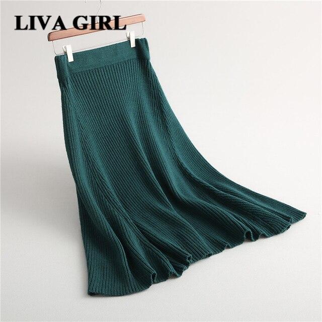 ЛИВА юбки для девочек женские теплые Классические Элегантные однотонные трикотажные A-Line Юбки для женщин 2017, Новая мода осень-зима Высокая Талия универсальные