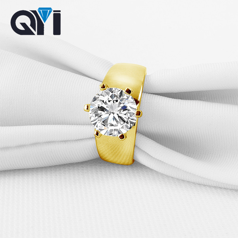 QYI 14k Solid Yellow Gold Women Wedding Ring 2.65 ct Round Cut CZ Engagement Ring Bridal Jewelry DesignQYI 14k Solid Yellow Gold Women Wedding Ring 2.65 ct Round Cut CZ Engagement Ring Bridal Jewelry Design