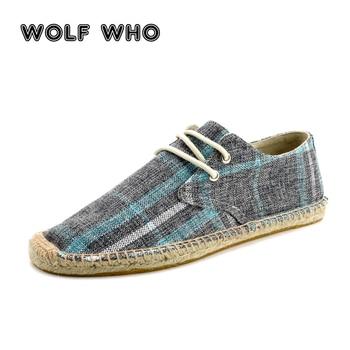 WOLF WHO Men Shoes Slip On Espadrilles Men 2018 Summer Canvas Hemp Rope Shoes Men Breathable Men's Footwear Zapatos Hombre W-024