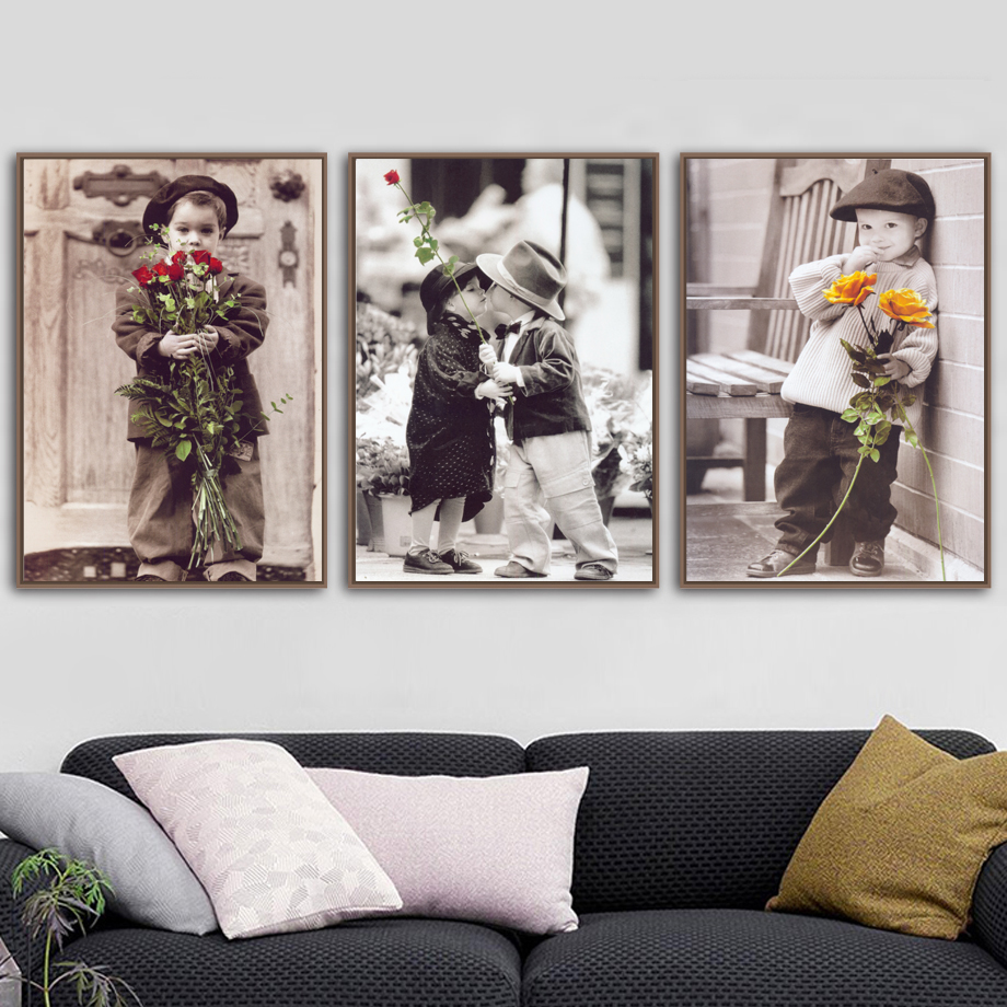 Boy Girl Romantic Childhood Wall Art Canvas Painting Nordic Posters And Prints Wall Pictures For Living Room Bedroom Home Decor in Painting Calligraphy from Home Garden