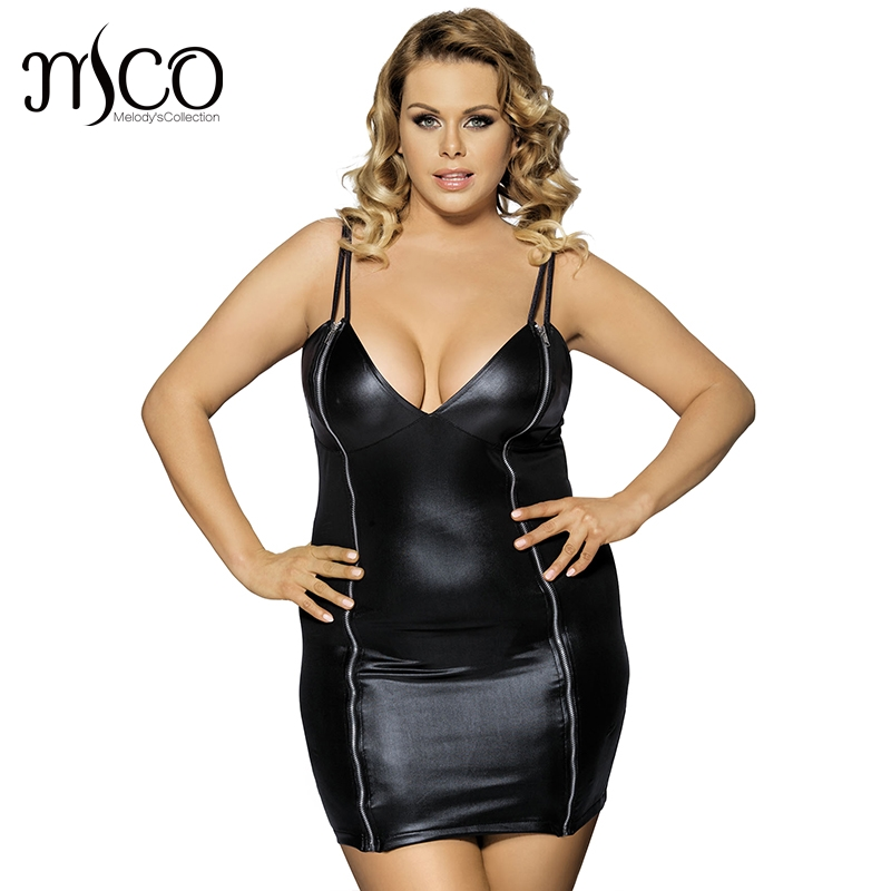 Mco Sexy Plus Size Bodycon Pu Leather Mini Dress Hot Zipper Front Wet Look Club Party -7886