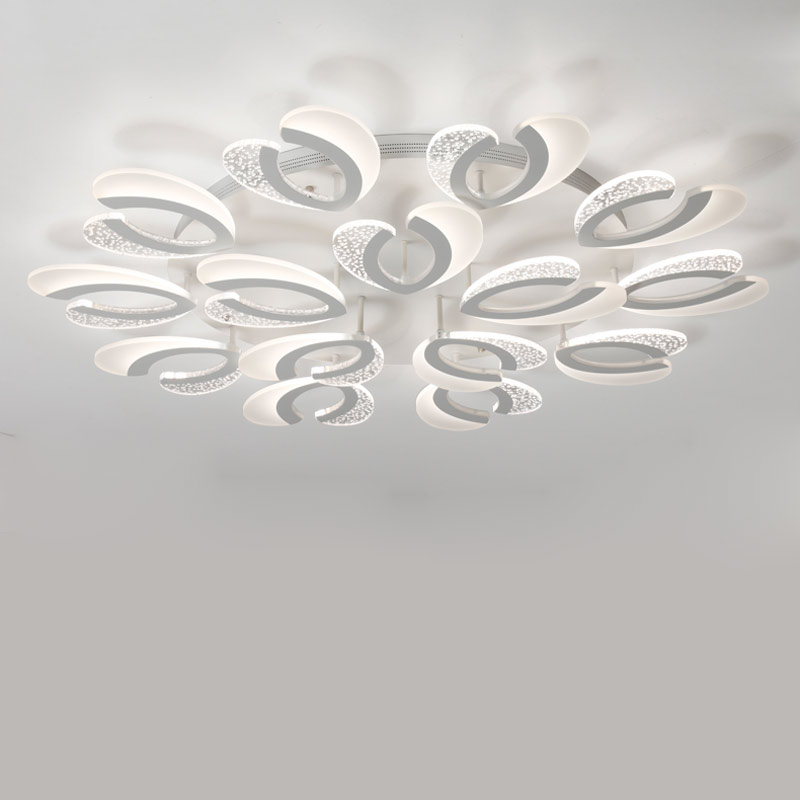 Acrylic Led Lamp Modern White Chandelier Fixtures Lustre With Remote Control Living Room Kitchen Foyer Decor Home Lighting 220V