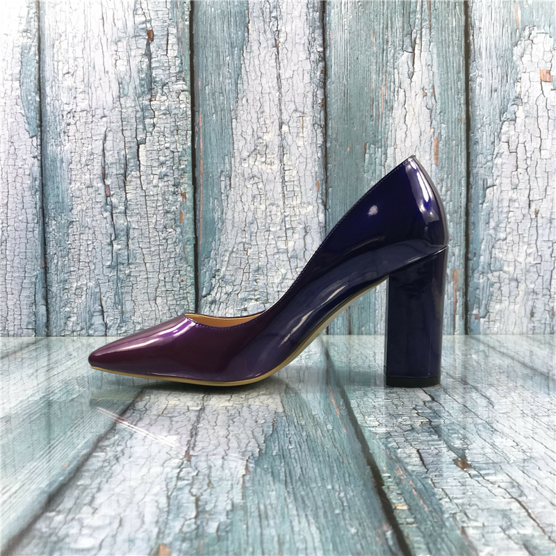 Kmeioo Womens Sexy Patent Leather Pointed Toe Block Heels Pumps Gorgeous Evening Party Stiletto Shoes Women US 5-15