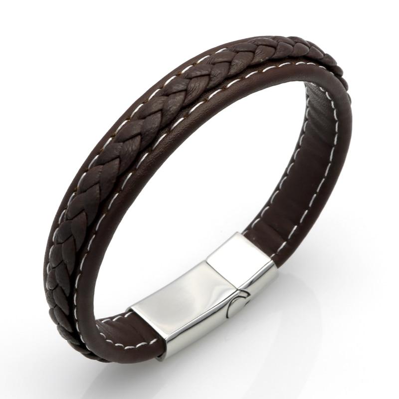Högsta kvalitet äkta läderarmband män rostfritt stål läderbraid - Märkessmycken - Foto 2