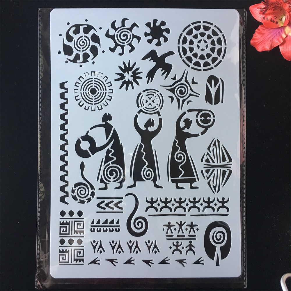 A4 29cm Primitive Ancient Totem DIY Craft Layering Stencils Painting Scrapbooking Stamping Embossing Album Paper Card Template
