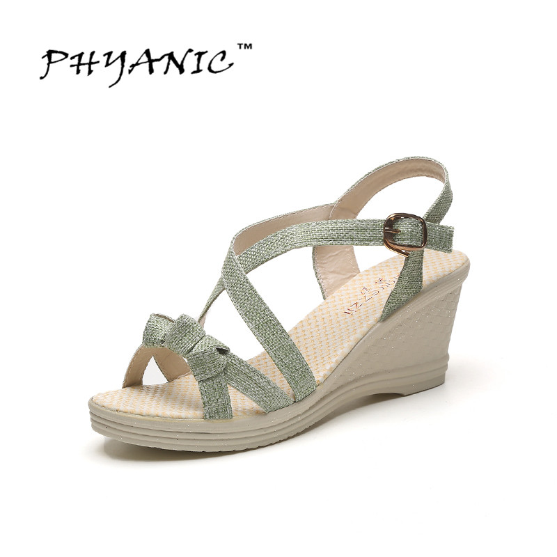 PHYANIC Platform Gladiator Sandals 2017 Casual Wedges Sandals Summer Buckle Shoes Woman Plus Size 35-41 Creepers PHY2051 nayiduyun shoes women cow suede strappy sandals roman gladiator sandals platform wedges creepers party casual shoes summer size