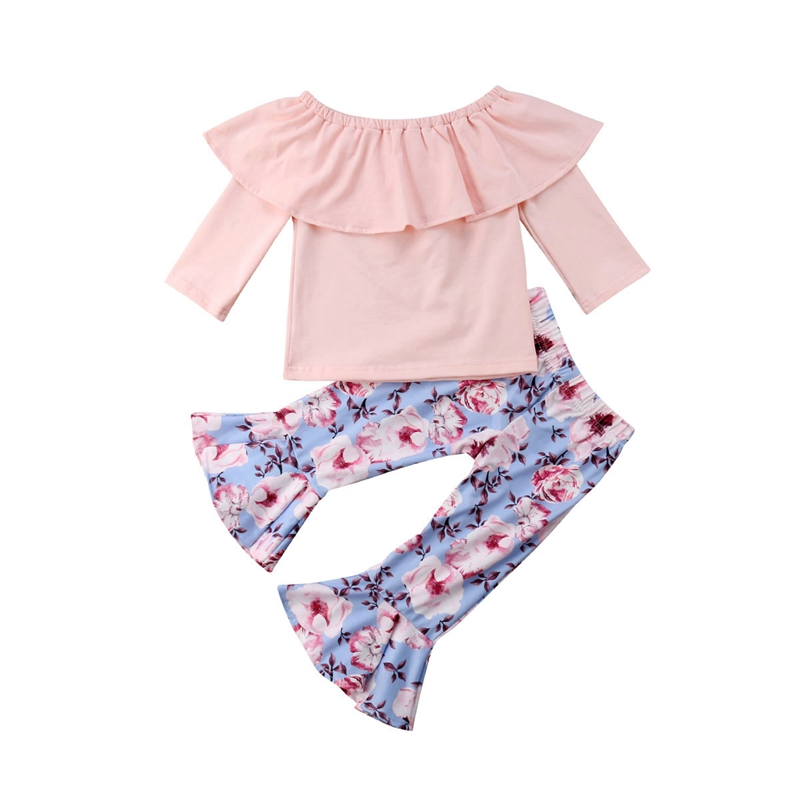 Boutique Little Girl Ruffle Tops T-shirt Pants 2PCS Outfits Baby Girls Clothes