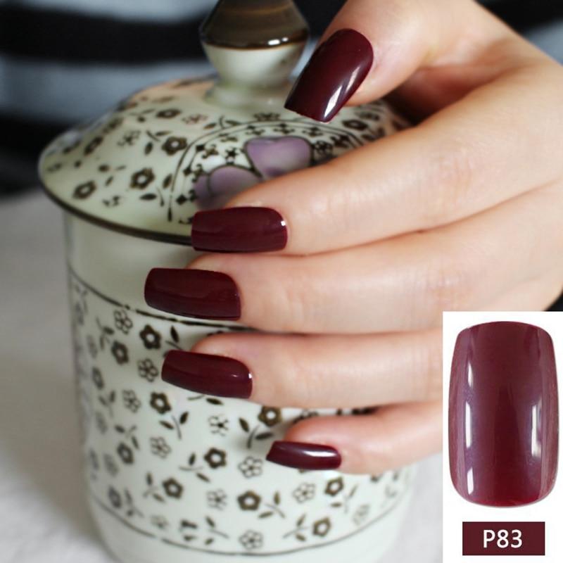 ⃝Dark Wine Red Fake Finger Nails Bent Flat Long Size Acrylic False ...