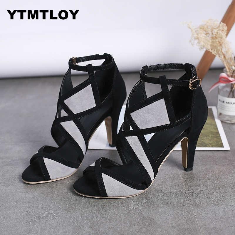 Size 35-42 Hot Sandalia Feminina Summer Gladiator High Heels Peep Toe Sandals Casual Shoes Woman Waterproof Platform Sexy 9