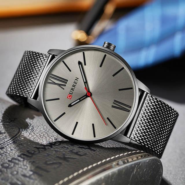 a9b9e5ecab2 CURREN Marca 2017 topos Simples Minimalismo luxo Quartz Relógios de pulso  para homens relogio masculino preto