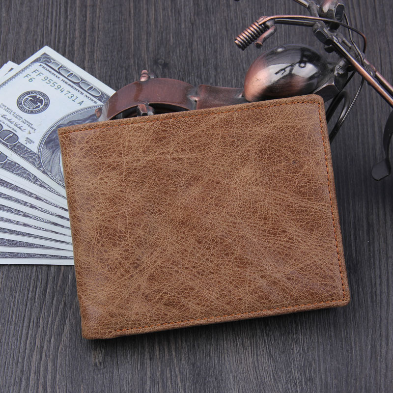 2017 100% Top Quality Cow Genuine Leather Men Wallets Brown Coffee Luxury, Dollar Price Short Style Male Purse Money Cards Clip men genuine leather wallet 2016 dollar price luxury famous designer high quality money clip men wallet