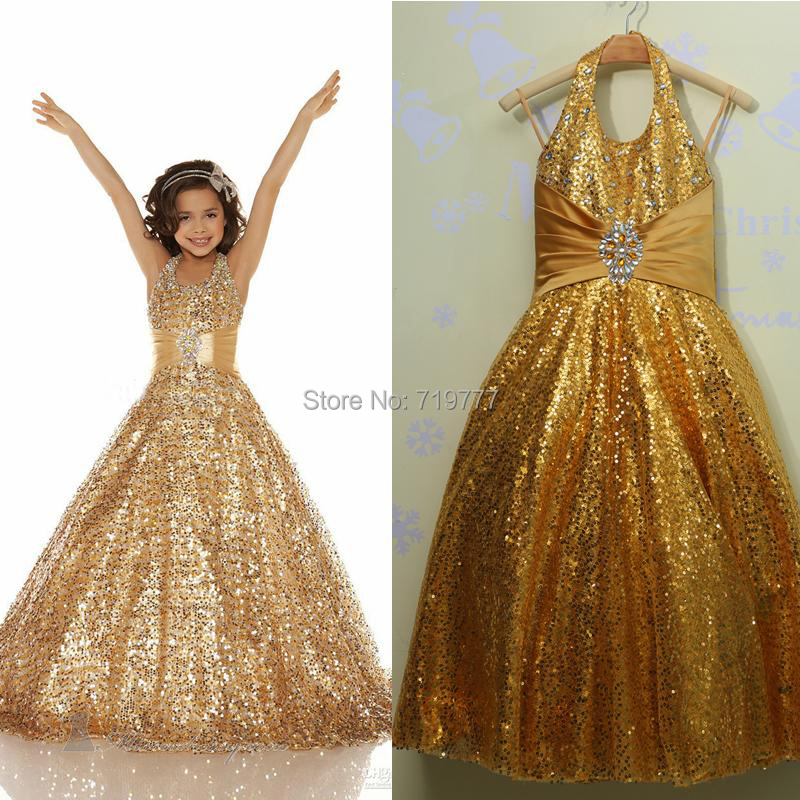Stunning Sparkling Gold Sequined Real Photo Halter Flower Girl Dress