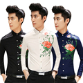 Envío gratis camisa masculina 2015 recién llegado de corea hombres camisa flor impreso slim fit manga larga para hombre chemise homme