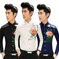 Frete grátis camisa masculina 2015 new arrival coreano flor impresso slim fit manga longa dos homens chemise homme