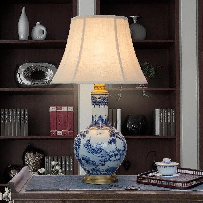 US $278.0  Blue white Art Chinese porcelain ceramic table lamp bedroom  living room wedding table lamp Jingdezhen light blue table lamp-in Table  Lamps ...