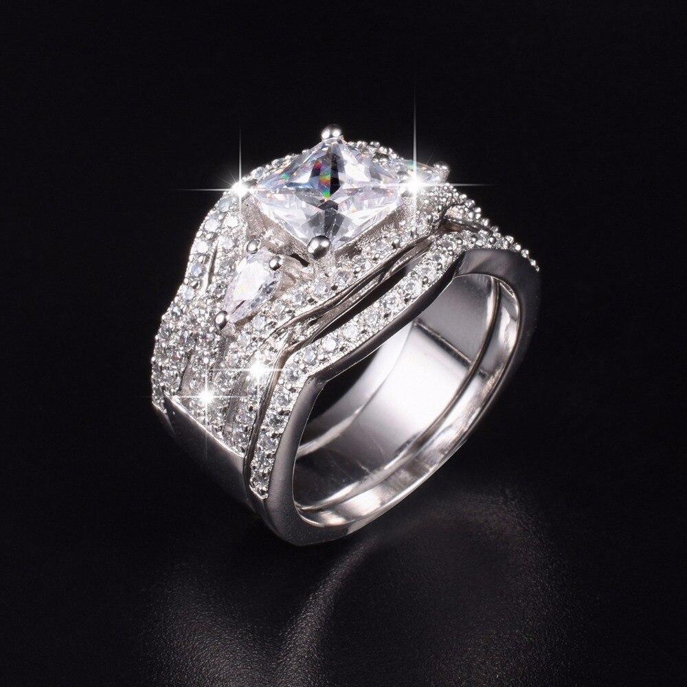 Винтаж проложить Имитация Кольца с алмазами комплекты 3 в 1 Обручение обручальное кольцо на палец для Для женщин Роскошные 10 карат с покрыти