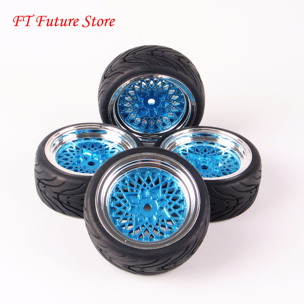 12mm Hex RC Car Model Kids Toys Accessory 1/10 Flat Rubber Tires And Wheel Rim For HSP HPI RC On Road Racing Car 10365+<font><b>21006</b></font> image