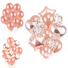 14pcs Rose Gold Balloons Wedding Decorations Globos Birthday Party Decorations Adult 18inch Heart And Pentagram Ballons цена 2017