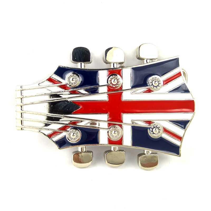RETRO CLASSIC BRITISH ROCK GUITAR UNION JACK FLAG MUSIC BUCKLE LEATHER BELT