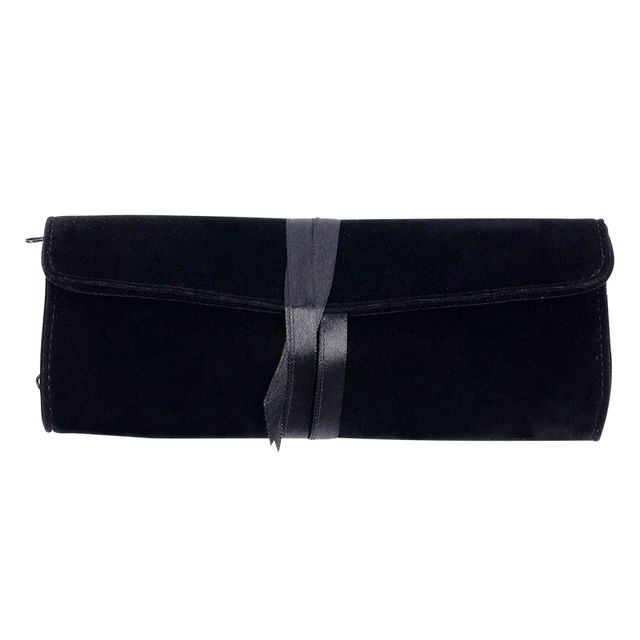 Fashion Jewelry Bags Black Color Jewelry Pouches Flannel Jewelry Pouch Travel Jewelry Roll Make Up Bags