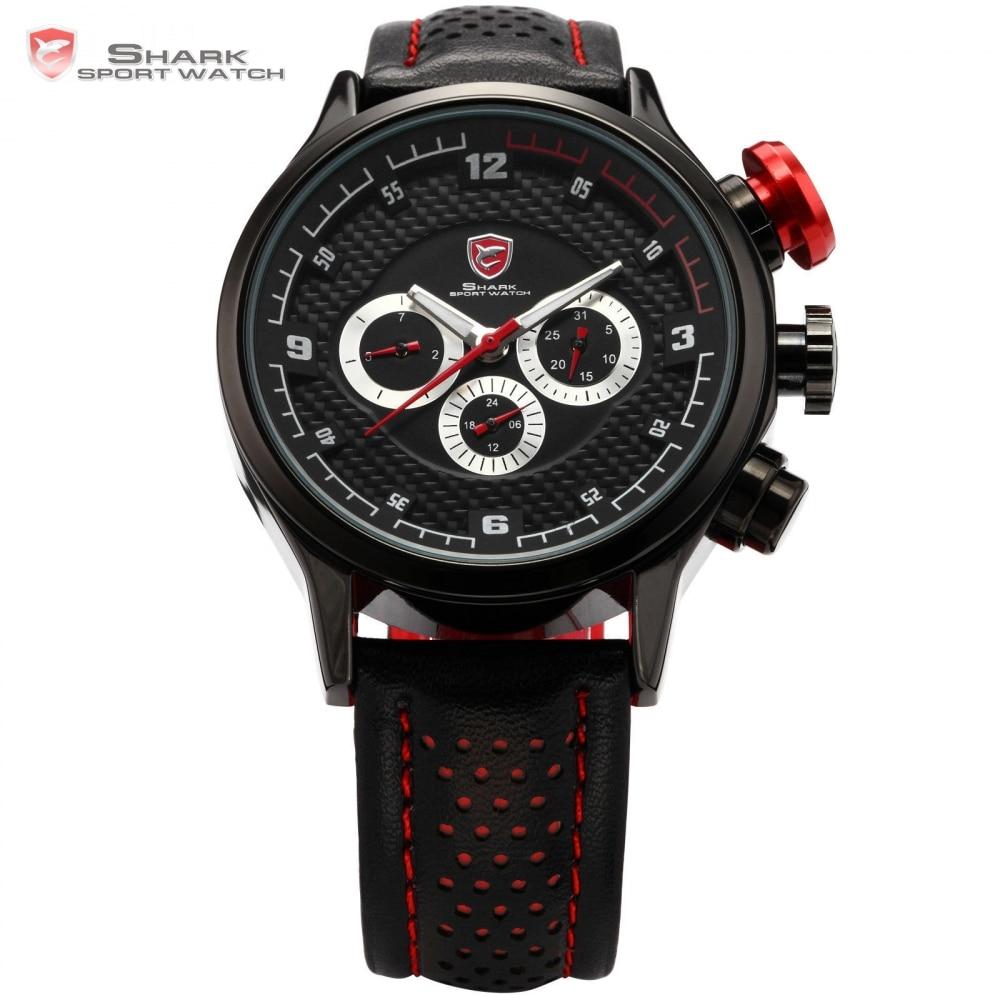 ФОТО Brand New SHARK Sport Watch 6 Hands Auto Date Stainless Steel Case Leather Strap Male Relogio Masculino Men Quartz Clock / SH084