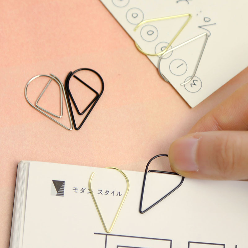Water Droplets Paper Clip Metal Bookmarks Metal Bookmarks Mascot Bookmark Office Supplies 100PCS