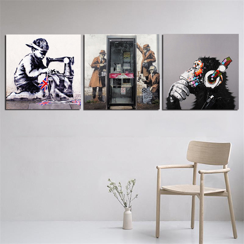 BANKSY CANVAS PICTURES PULP FICTION STAR WARS WALL ART PRINTS DECORATION POSTER