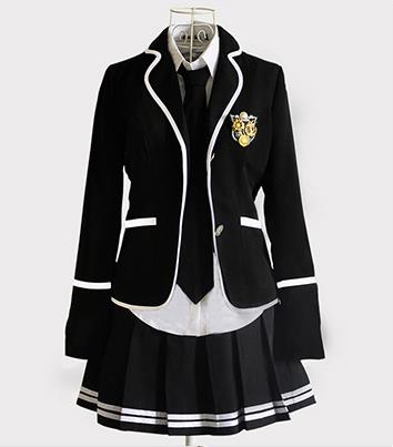 1469b0cee Japanese School Girl Uniform Cosplay Costume Black Red Tartan Dress ...