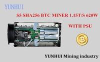 YUNHUI BTC miner Sử Dụng Antminer S5 1150 Gam 28NM BM1384 Bitcoin máy khai thác mỏ ASIC thợ mỏ (với cung cấp điện)
