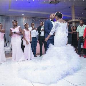 Image 2 - Vestido de novia de encaje de cola grande africano, sirena, de talla grande, novedad, 2020
