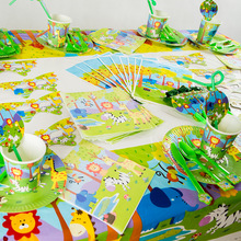 Jungle Animal Theme Disposable Tableware Set For Kids Birthday Party /Jungle Safari Animals Decorations Supplies