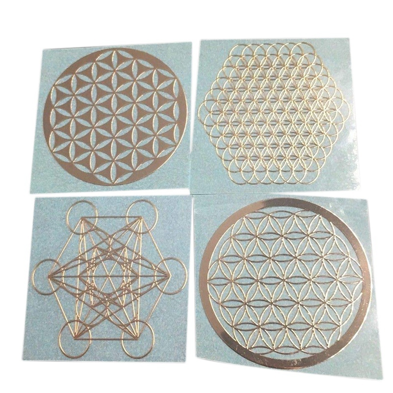 4Pcs Set New Metal Energy Decor Sticker Flower Of Life